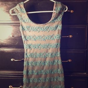 Retired and rare Candie's Grey and teal lace dress